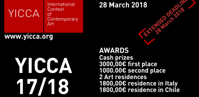 YICCA 17/18 - International Contest of Contemporary Art. Nuova scadenza al 28 Marzo 2018