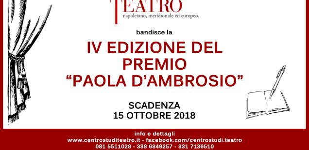 """IV Edizione Premio """"Paola D'Ambrosio"""""""