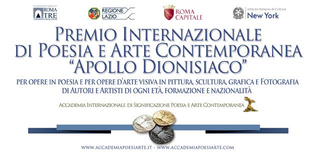 Premio Internazionale d'Arte Contemporanea Apollo dionisiaco 2019. Per opere in poesia e opere d'arte visiva in pittura, scultura, grafica e fotografia di autori e artisti di ogni età, formazione e nazionalità.