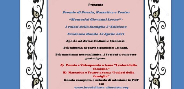 """Premio di Poesia, Narrativa e Teatro """"Memorial Giovanni Leone"""" I valori della famiglia 2^ Edizione"""