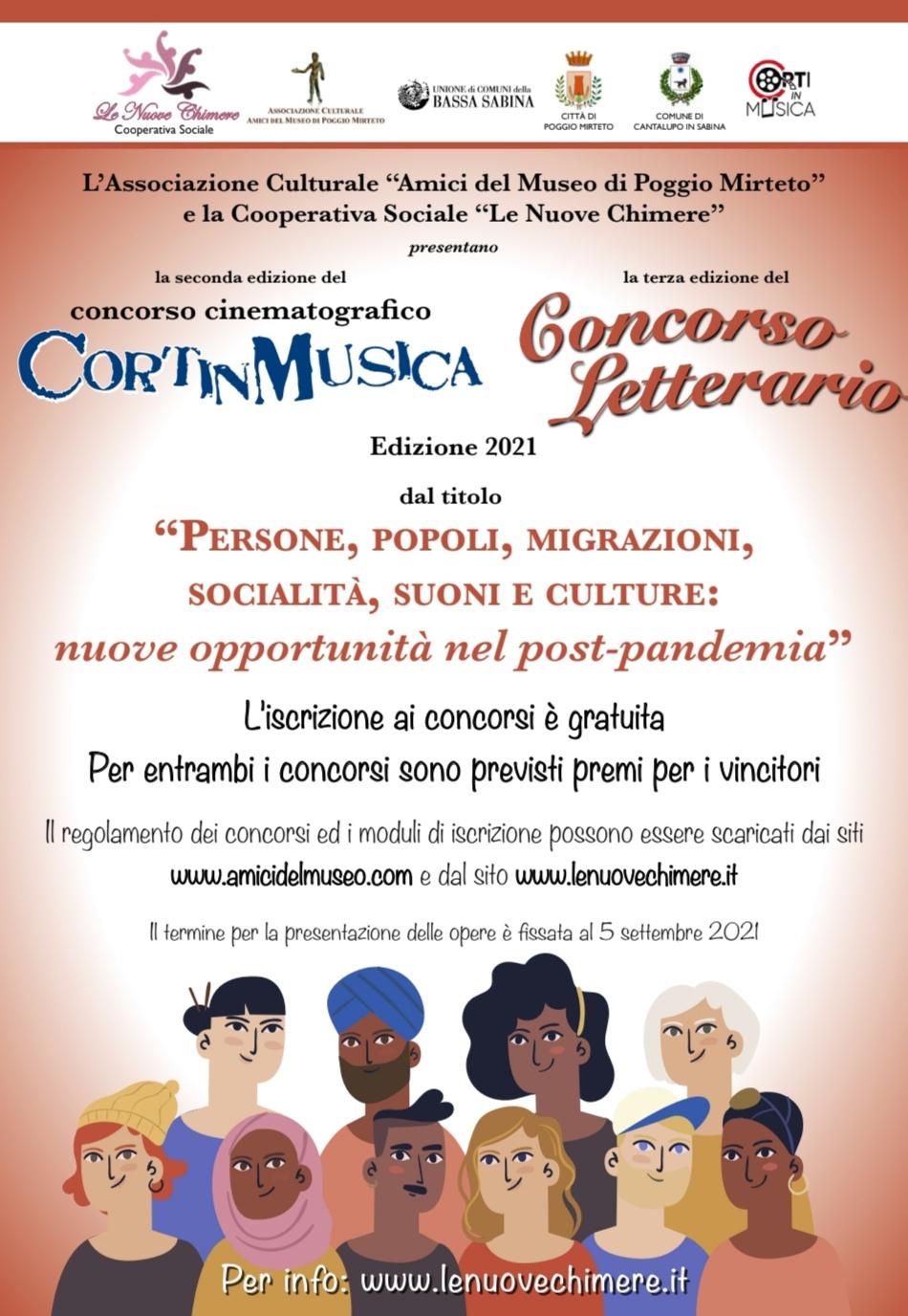 concorso letterario e cinematografico: PERSONE, POPOLI, MIGRAZIONI, SOCIALITA', SUONI E CULTURE: NUOVE OPPORTUNITA' NEL POST PANDEMIA