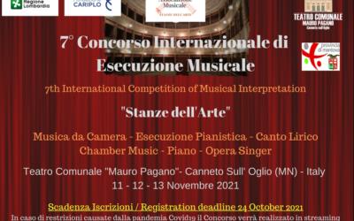 """Concorso Internazionale di Esecuzione Musicale """"Stanze dell'Arte"""""""